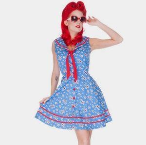 (Voodoo Vixen) Blue Floral Bella Sailor Dress Lg